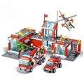Модель пожарной станции огонь строительные блоки для грузовиков кирпичи пожарных фигурки обучающие игрушки для детей Совместимость город