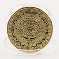 1x Gold Sliver Plated Mayan Aztec Calendar Souvenir Commemorative Coin Collection Gift Holiday gifts