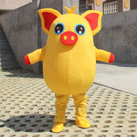Yellow Pig Red Pig Mascot Party Cosplay Costume Game Adult Dress Parade Animal Birthday