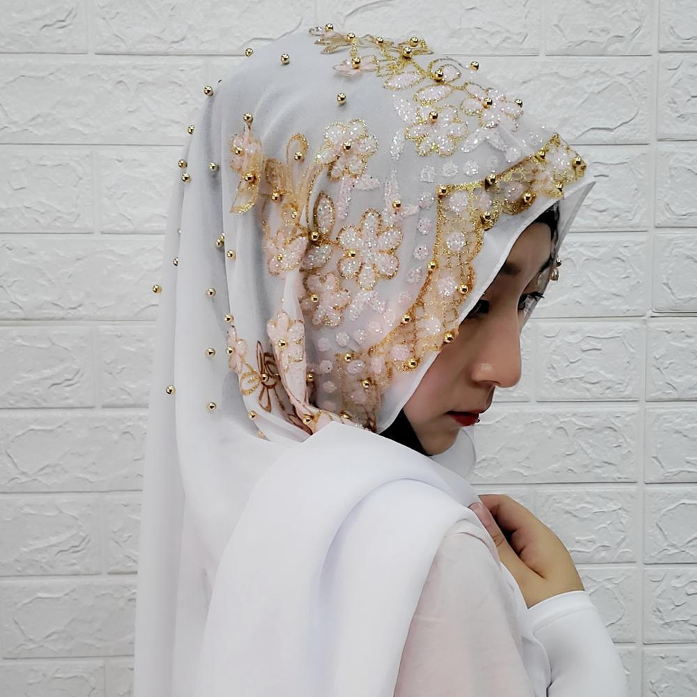 Fashion Woman Hijab Solid Color Sequin Beading Sequins Chiffon Silk Popular Shawls Scarf Headband Muslim Turban Abaya Diamonds