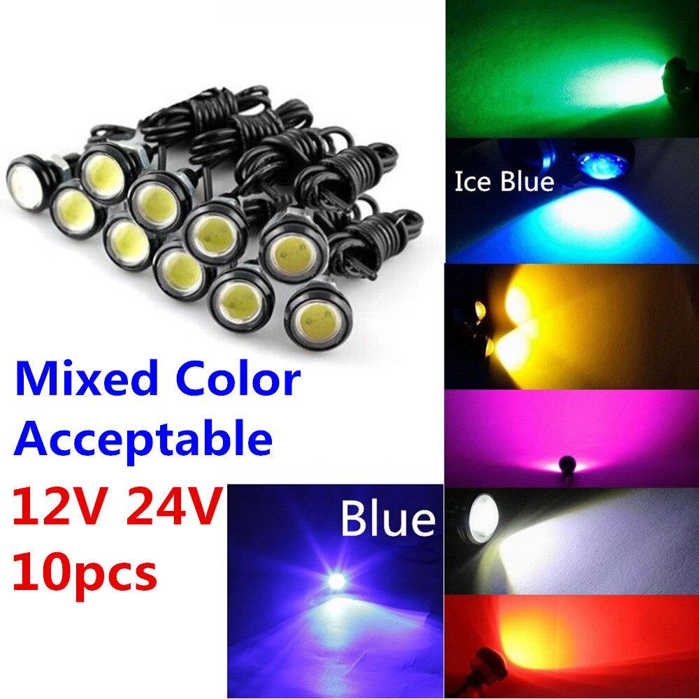 10 pièces 9W 12V 24V 18MM 23MM lumière de œil d'aigle de LED voiture brouillard DRL diurne Signal de stationnement inverse jaune ambre bleu blanc rouge
