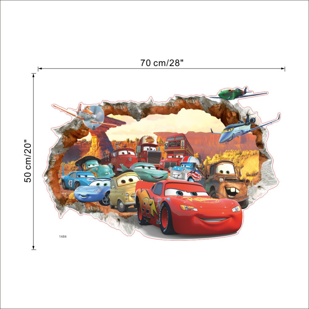 3D DIY Pixar Car 3 Lightning McQueen Wall Sticker + Free Shipping 3D Wall Stickers For Kids Rooms lightning mcqueen wall decals