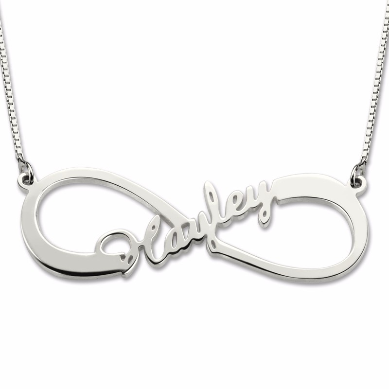 Costume Nameplate Necklace Sterling Silver 925 Custom Infinity Single Name Pendant Women Choker Colar Necklaces Gifts for Friend women custom name necklace silver gold engraved kid charms necklaces costume girl boy charm choker gift for mom stranger things