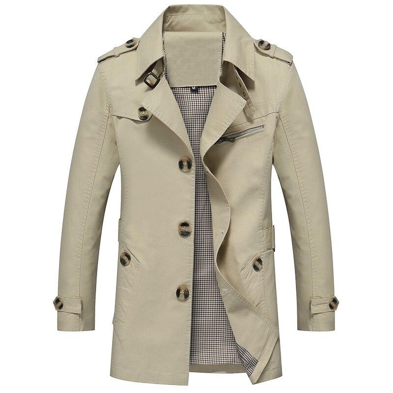 Männer Graben Mantel 2018 Neue Mode Casual Herbst Windjacke Lange Mantel Plus Größe 5XL Klassische Trenchcoat Männlichen Freizeit Jacken