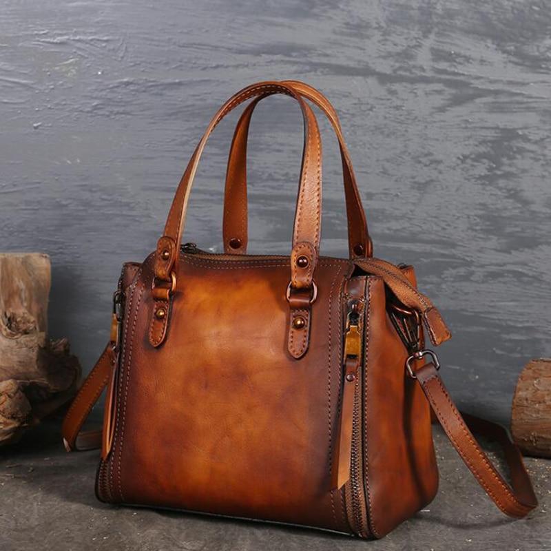 Luxury Handbags Retro Leather Women Bags 100% Genuine Leather Women Shoulder Crossbody Messenger Bag High Quality Casual Tote цена