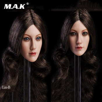 1/6 Female Head Sculpt Long Hair with Blue /Brown Head Carving Model for 12 Inches Female Suntan Color Action Figure Body