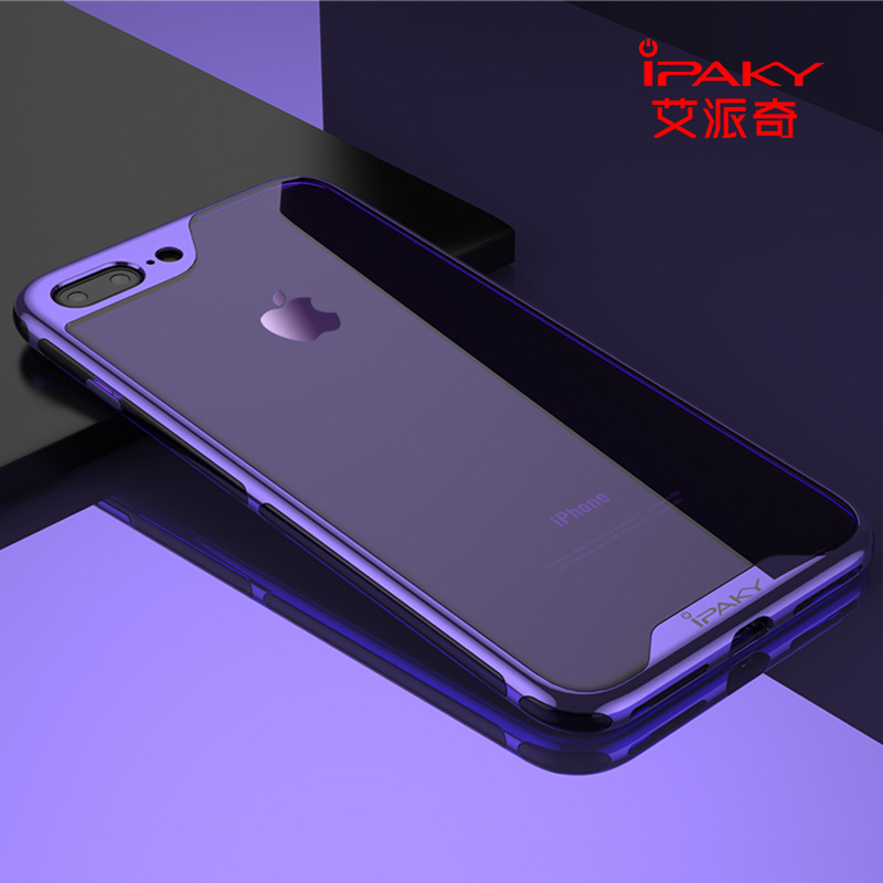 iPaky Case for iPhone 8 7 Plus X Luxury Electroplated PC Frame & Transparent Silicon Gel Back Cover Hybrid Soft Housing