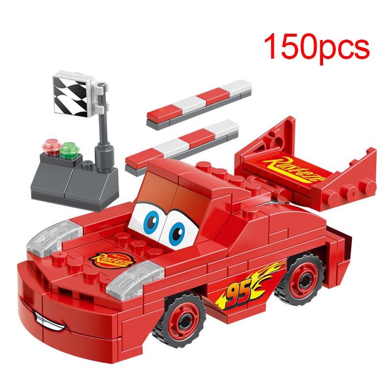 150pcs Disney Pixar Cars 3 Block Figure Lightning McQueen Mater Building Set Assembly Brain Game Birthday Gift Children Toy