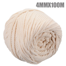 4mm New Quality Beige Cotton Roll Rope Natural DIY Soft Macrame Twisted Cord Hand Craft Textile Supplies 100M Durable