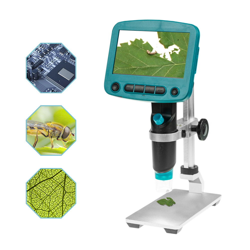 800X USB Digital LCD Microscope 4.3 Inch HD OLED Portable 8 LED VGA Camera Video Microscopes Magnifier With Stainless Steel Base