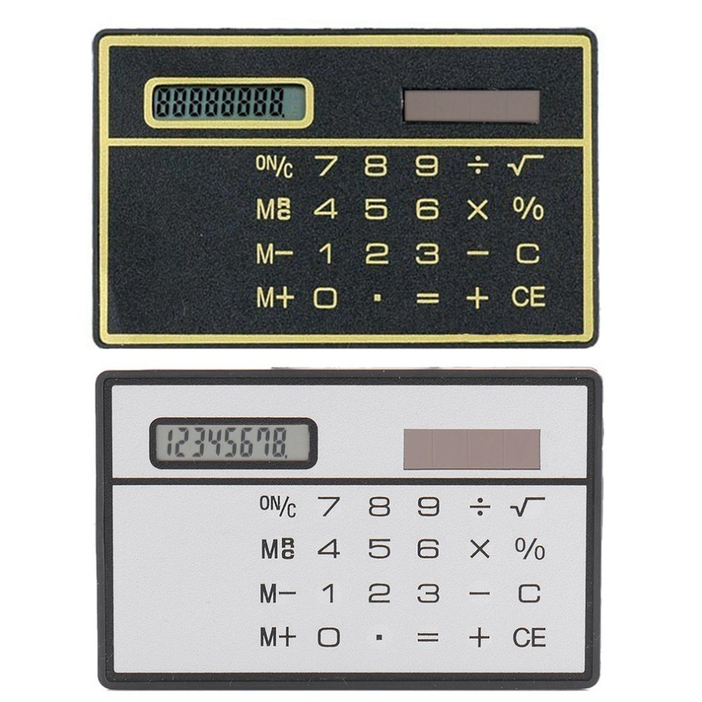 8 цифр ультра тонкий калькулятор солнечной энергии с сенсорным экраном дизайн кредитной карты портативный мини калькулятор для бизнес-школ... title=