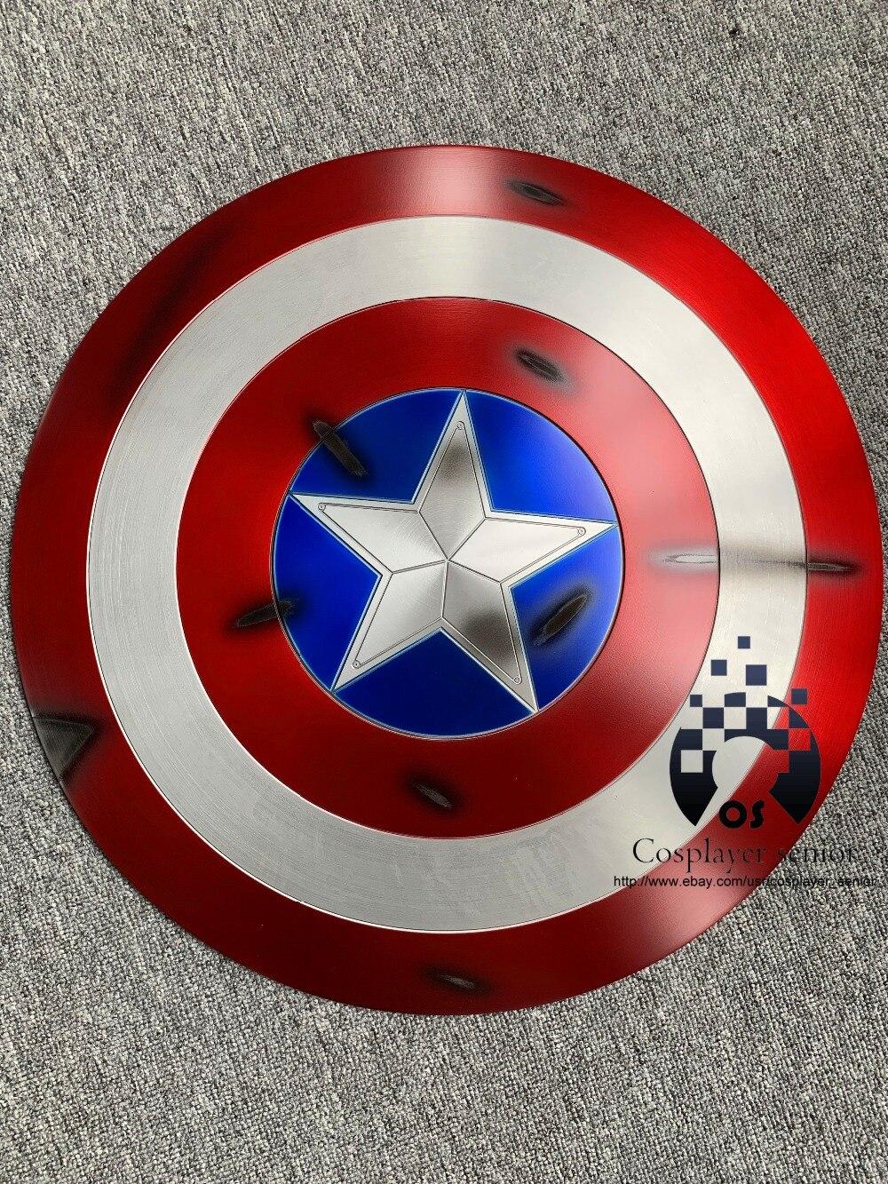 New version 60cm Captain America Shield 1 1 Steve Rogers Aluminum Metal BATTLE DAMAGE Shield movie