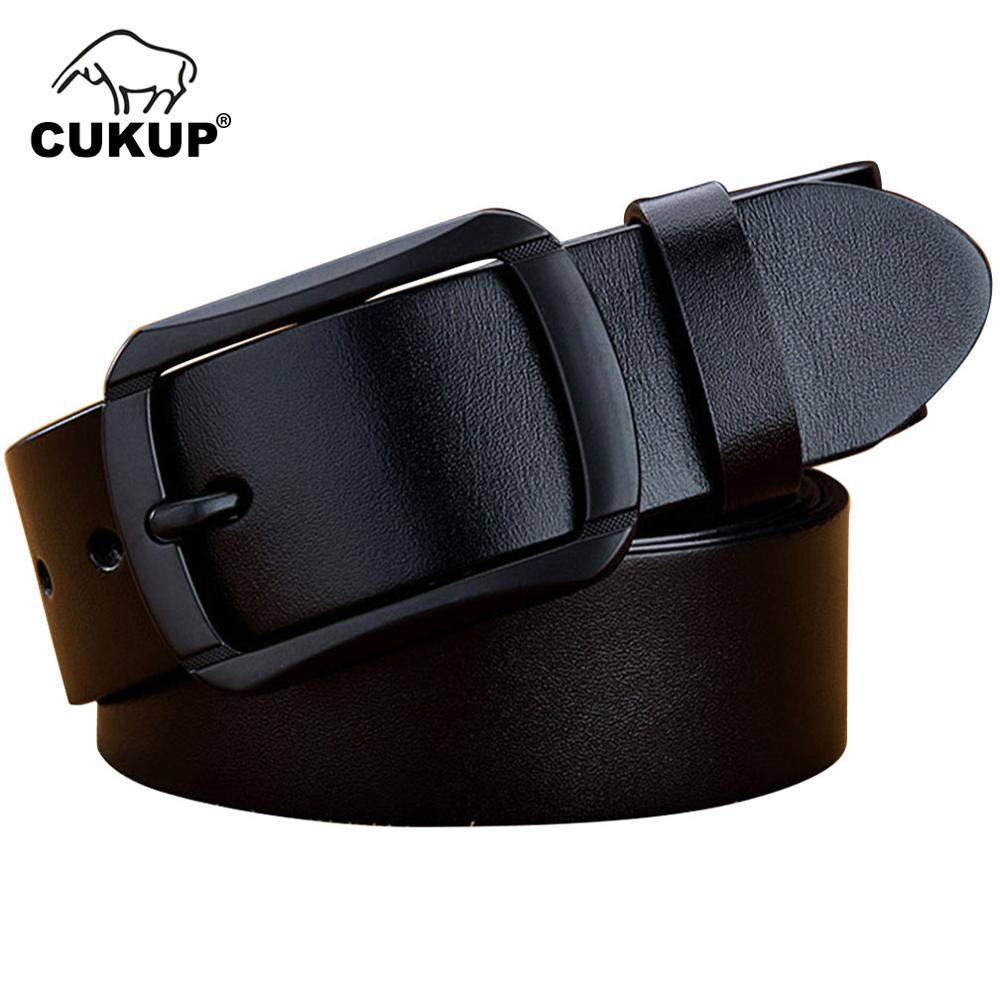 CUKUP Mens Top Quality Luxury Cowhide Leather Belts for Men Simple Pin Buckle Male Casual Styles Jeans Black Belt 2018 NCK643