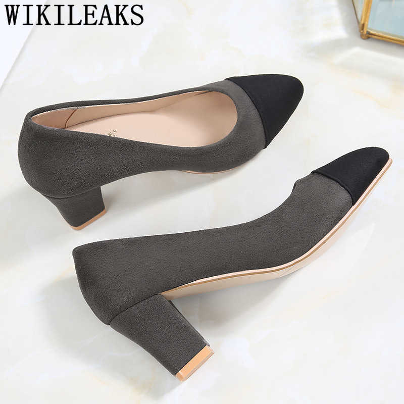 Blocco di scarpe tacco di spessore tacchi scarpe ufficio donne fetish tacchi alti eleganti scarpe 2019 nuove pompe per womem chaussures femme buty