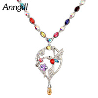 ANNGILL Original Crystals From SWAROVSKI Maxi Flowers and Birds Necklace Pendant For Women Party Wedding Accessories Best Gifts