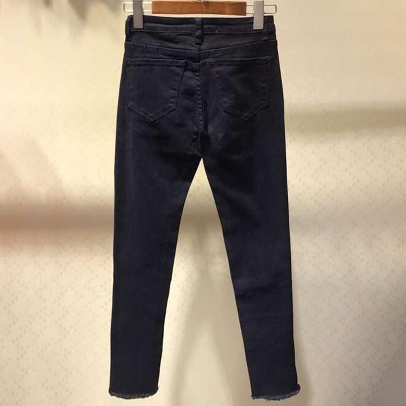 Décontracté Haute Noir Poches Pantalon Taille Avec Plein Moulant Femmes Maigre Pantalons black Blanc Date Couture White 2019 Basse cl1JKF