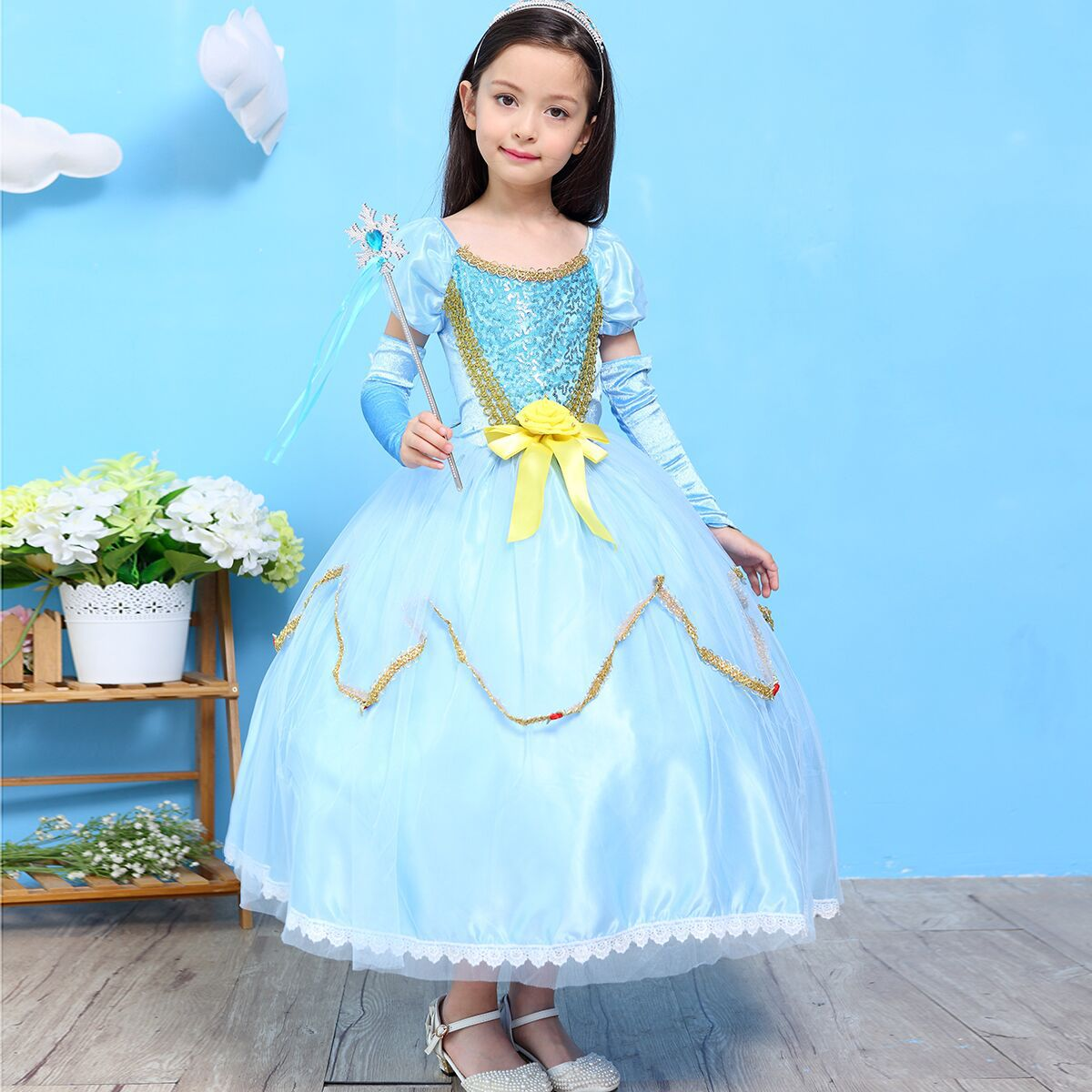 Little Elsa Princess Halloween Costume New Year Christmas Dress Birthday Holiday Party Suits