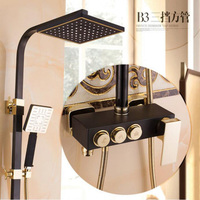 Shower Faucet Bathtub Faucet Sets Bathroom Luxury Black Golden Shower Mixer With Bidet Shower Antique Gold
