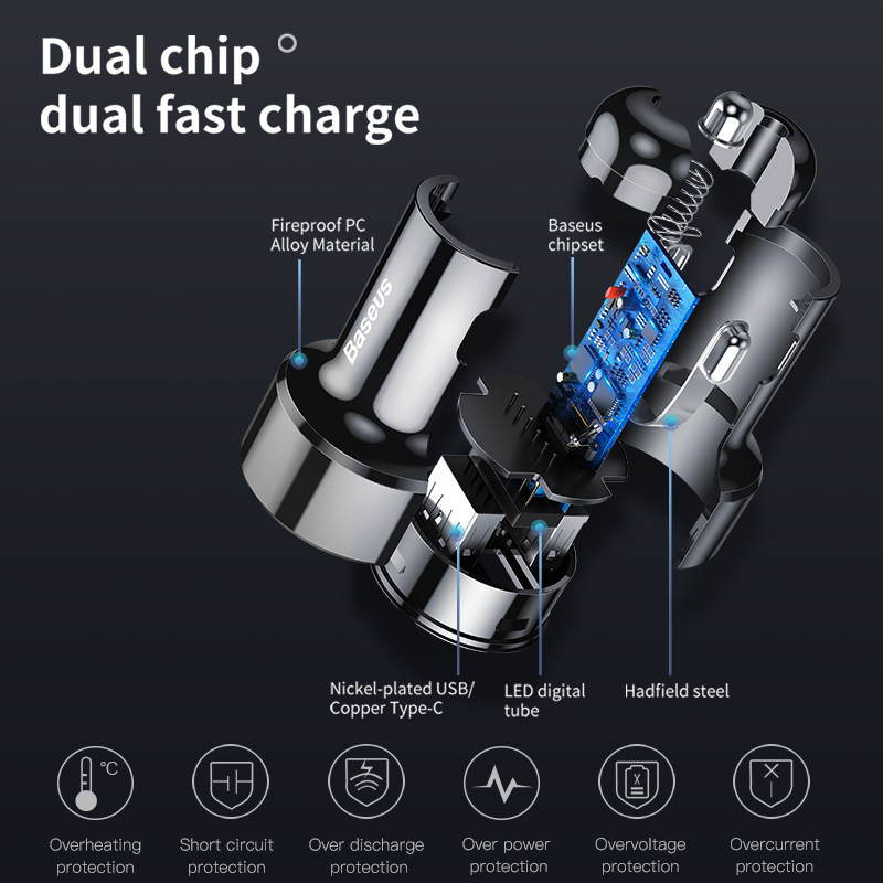 Baseus 45W Quick Charge 4.0 3.0 USB Car Charger for Xiaomi Mi Huawei Supercharge SCP QC4.0 QC3.0 Fast PD USB C Car Phone Charger 4