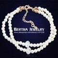 Marca única de perlas de doble Boho pulsera Pulseras Pulseira Feminina con Swarovski Crystal Bijoux joyería de los encantos