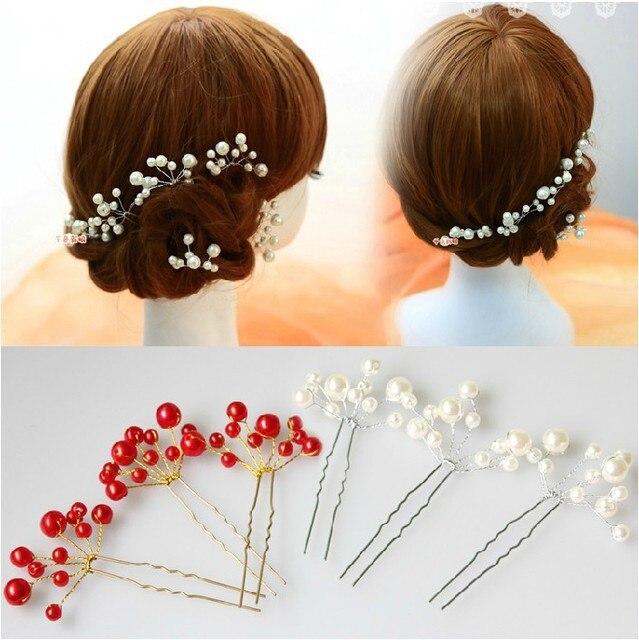 Red White Beading Flower U Shaped Spiral Holder Hair Clips Bun
