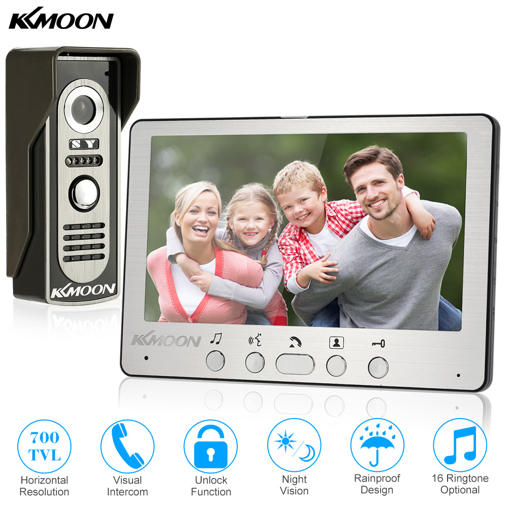 KKmoon 7'' TFT LCD Wired Video Door Phone Visual Video Intercom Speakerphone Intercom System With Waterproof Outdoor IR Camera(China)