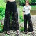 2016 primavera verão nova moda feminina perna larga calças de renda calças palazzo (branco/preto)