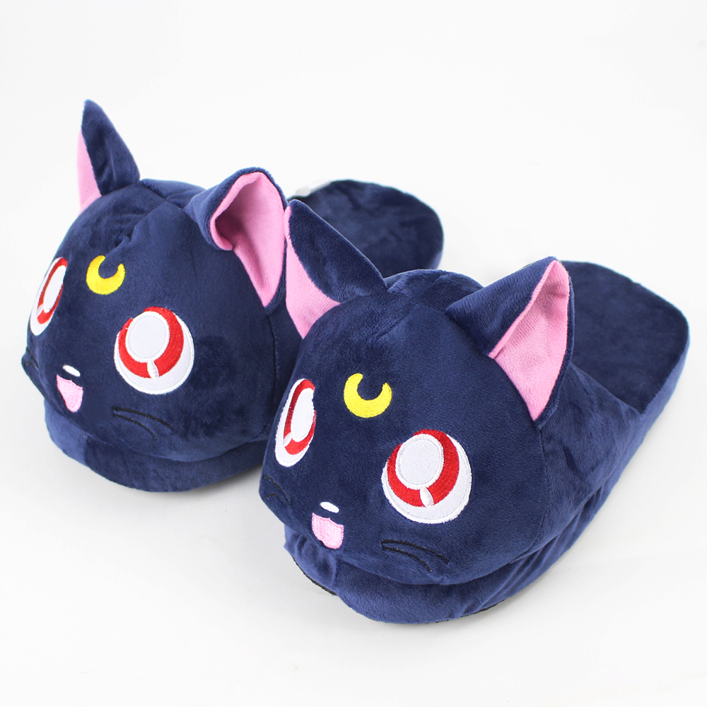 28cm cute Hot anime Sailor Moon black cat winter indoor slippers shoes for warm for girls birthday gift image