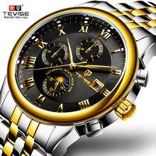 Herren Uhren Automatische Mechanische Uhr TEVISE Mond Phase Wasserdicht Leucht Datum Automatische Uhr Männer Junge Armbanduhren