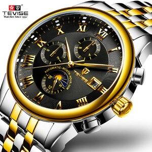 Image 1 - Herren Uhren Automatische Mechanische Uhr TEVISE Mond Phase Wasserdicht Leucht Datum Automatische Uhr Männer Junge Armbanduhren