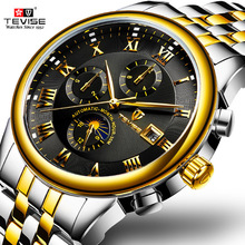 남성 시계 자동 기계식 시계 tevise 문 단계 방수 빛나는 날짜 자동 시계 남자 소년 손목 시계