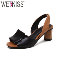 WETKISS Big Size 32 43 Slingback Sandals Women Brand Mixed Colors Back Strap Summer Shoes Woman