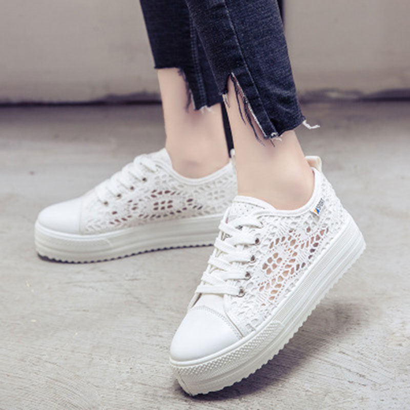 Women Shoes Casual Summer 2018 Cutouts Lace Canvas Breathable Platform creepers Flat Sneakers Shoes zapatos mujer plus size 34 45 new summer women shoes casual cutouts lace hollow floral breathable platform shoe increased internal mujer shoes