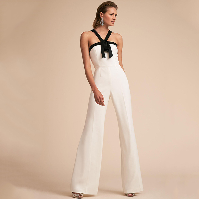 354831c98a9e New Bandage Deep V Neck Wide Leg Jumpsuit 2018 Summer Sleeveless Bow Tie  Jumpsuit Vacation Women Jumpsuit Zipper Casual Overalls