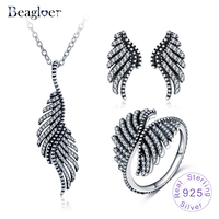 Beagloer 100% 925 Sterling Silver Retro Ethnic Feather Jewelry Sets For Women Clear Cubic Zirconia Party Jewelry PSST0003 B