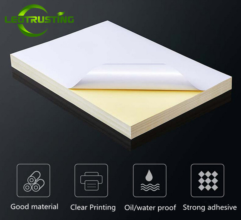 Leotrusting 50sheets A4 Size 210mmx297mm Tear Proof Matt White PP Sticker Color Printed Vinyl PP Sticker With Inkjet Printer