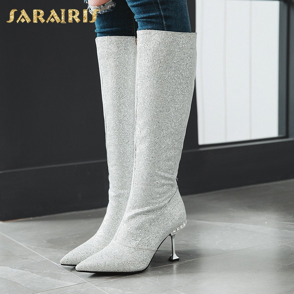 SARAIRIS New Plus Size 32-43 Hot Sale Sequin Boots Shoes Woman Thin Heels Zip Up Winter Knee High Boots Woman ShoesSARAIRIS New Plus Size 32-43 Hot Sale Sequin Boots Shoes Woman Thin Heels Zip Up Winter Knee High Boots Woman Shoes