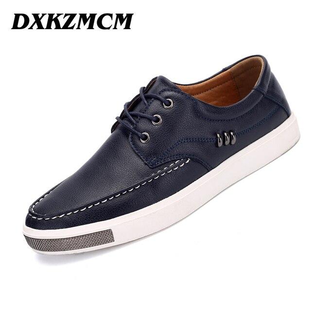 DXKZMCM Genuine Leather Men Casual Shoes,  New Arrive Leather Men Flats  Men Shoes
