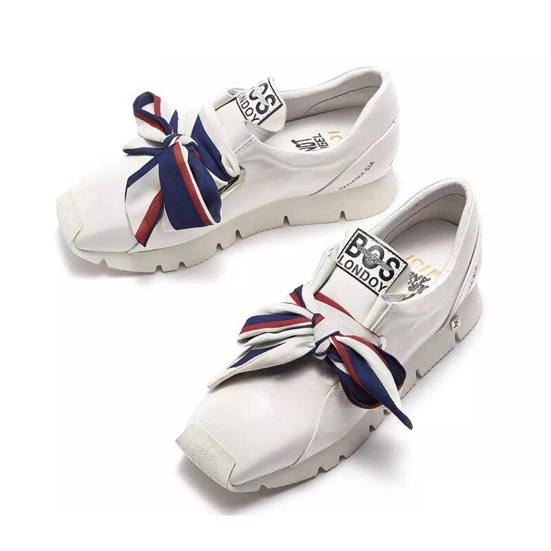 Les Casual Véritable Feminino Lady blanc Femmes En Cuir Pour Tenis Noir Fond Sneakers Épais Chaussures Papillon Plat Ugi forme Noir noeud Plate wk8n0NPZOX