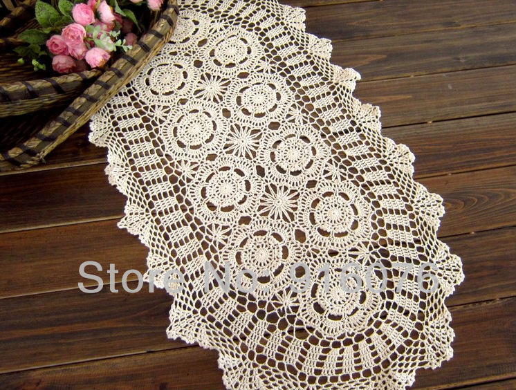 38x76cm15x30 Inches Vintage Hand Crocheted Table Runner Beige