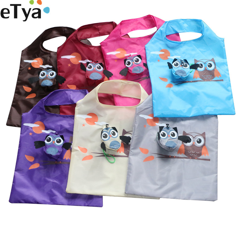 ETya Cute Animal Owl Eco Friendly Folding Shopping Bag Travel Women Reusable Tote Shopper Bag Lady Shoulder Bag