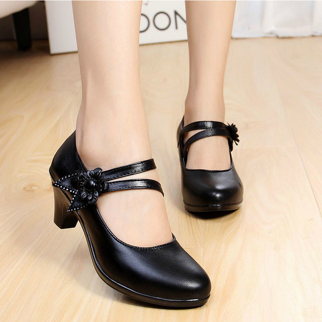 New 2016 women genuine leather pumps thick heel ankle strap shoes ...