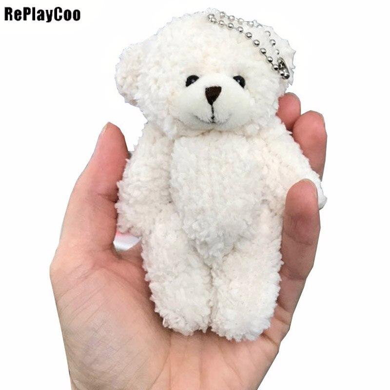 50pcs/lot Mini Teddy Bear Stuffed Plush Toys Small Bear 12cm White Stuffed Toys Pelucia Pendant Kids Birthday Gift  Party Decor