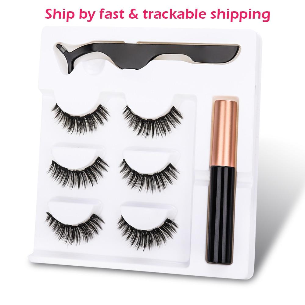 New Magnetic Fake Eyelashes Magnetic Liquid Eyeliner Natural Long 5 Magnet False Eyelashes With Tweezer set for Girl Women Gift