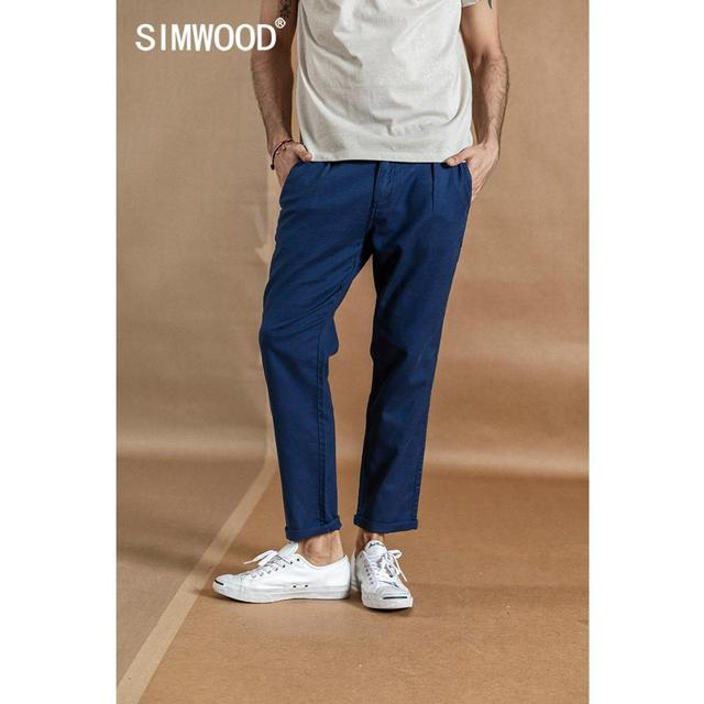 SIMWOOD 2020 spring new ankle-length pants men cotton linen casual trousers plus size high quality brand clothing  190359 2