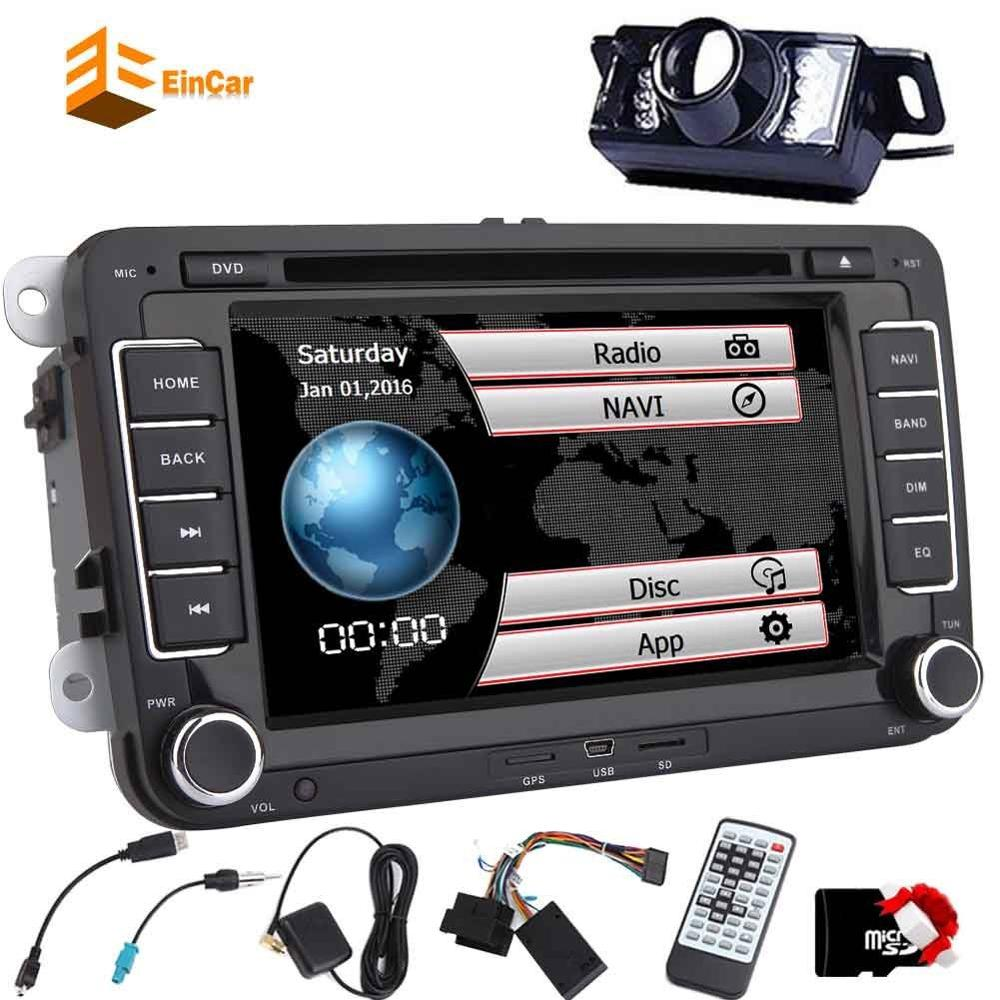 2 Din 7'' Car Stereo GPS Navigation DVD Player In Dash Double Din Car Radio For VW Bluetooth Car Audio Video Player+Rear Camera