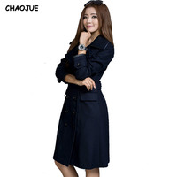 Woolen Overcoat Female 2016 Spring And Autumn Fashion Slim Long Design Navy Wool Coat Womens Double
