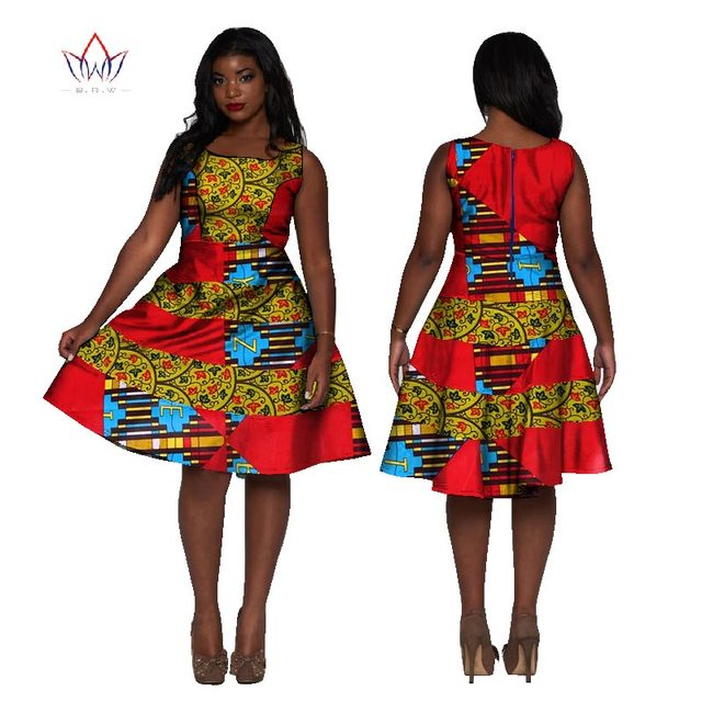 bbbfb9e41821 Women African Clothing 2017 Dashiki Sleeveless Dress Knee-Length A-Line African  Print Dresses Plus Size African Clothing WY1704