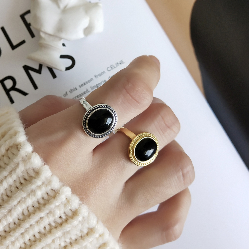 925 Sterling Silver Adjustable Vintage Silver Design Nature Black Agate Ring Stone Jewelry Gold Oval Cabonchons Gemstone Rings925 Sterling Silver Adjustable Vintage Silver Design Nature Black Agate Ring Stone Jewelry Gold Oval Cabonchons Gemstone Rings