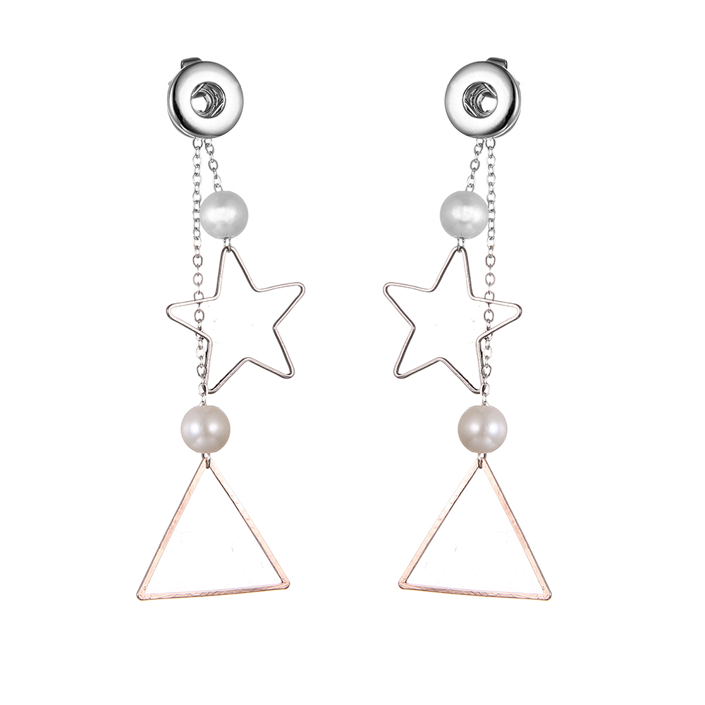 19styles New 12mm Snap Button Earrings DIY Snap Button Star Triangle With Pearl Long Tassel Dangle Earrings For Women image
